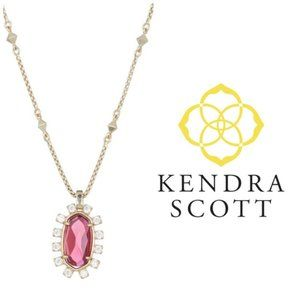 Kendra Scott Brett Pink Berry CZ Gold Necklace NWT
